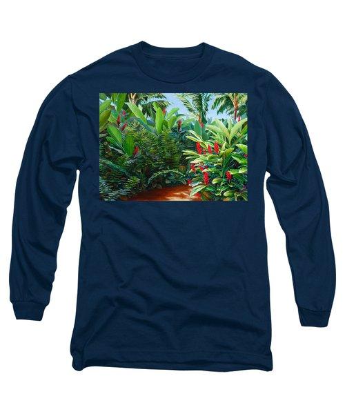 Tropical Jungle Landscape - Red Garden Hawaiian Torch Ginger Wall Art Long Sleeve T-Shirt