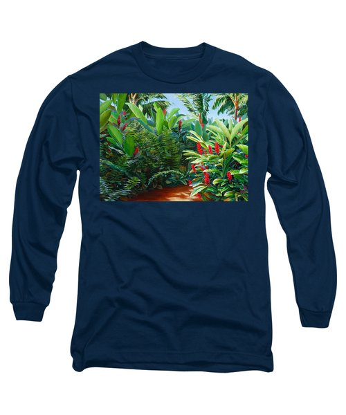 Tropical Jungle Landscape - Red Garden Hawaiian Torch Ginger Wall Art Long Sleeve T-Shirt