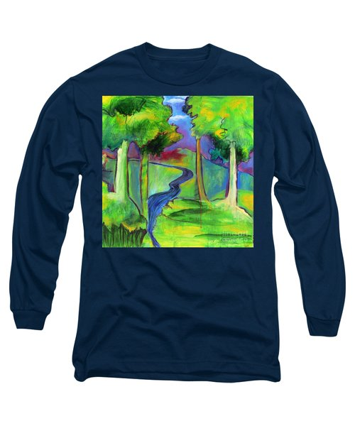 Long Sleeve T-Shirt featuring the painting Rendezvous Triptych by Elizabeth Fontaine-Barr