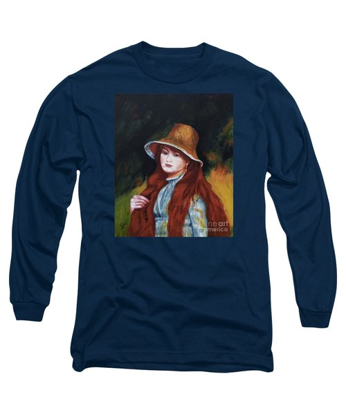 Renoir-young Girl In A Straw Hat Long Sleeve T-Shirt