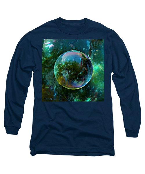 Long Sleeve T-Shirt featuring the painting Reticulated Dream Orb by Robin Moline