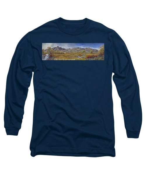 Long Sleeve T-Shirt featuring the painting River Mural Autumn View  by Dawn Senior-Trask