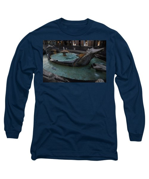 Rome's Fabulous Fountains - Fontana Della Barcaccia At The Spanish Steps  Long Sleeve T-Shirt
