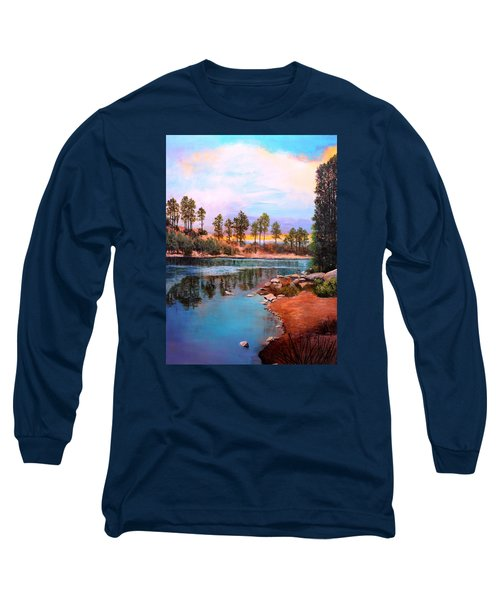 Long Sleeve T-Shirt featuring the painting Rose Canyon Lake 2 by M Diane Bonaparte