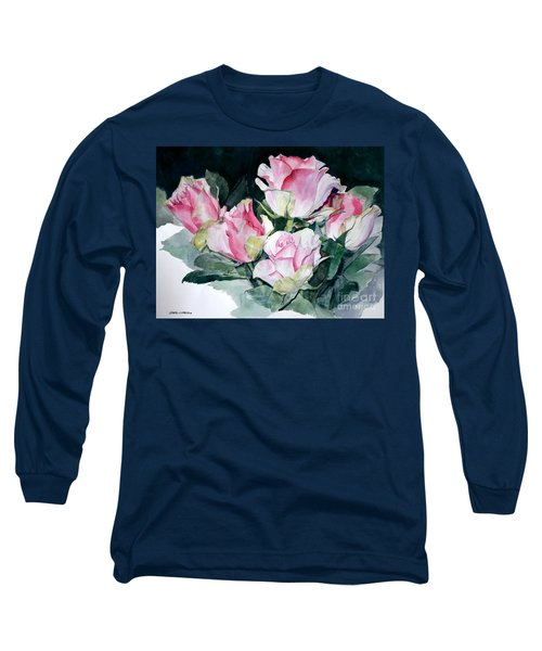 Watercolor Of A Pink Rose Bouquet Celebrating Ezio Pinza Long Sleeve T-Shirt