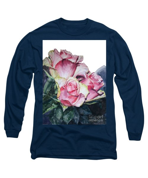Watercolor Of A Bouquet Of Pink Roses I Call Rose Michelangelo Long Sleeve T-Shirt