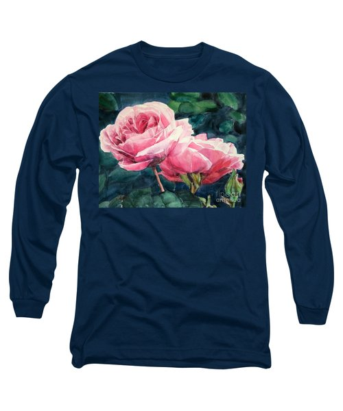 Pink Roses Wildebras Long Sleeve T-Shirt by Greta Corens