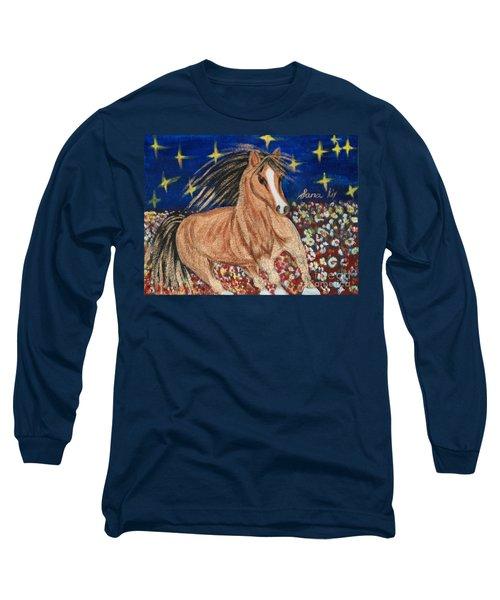 Long Sleeve T-Shirt featuring the painting Running Horse by Oksana Semenchenko