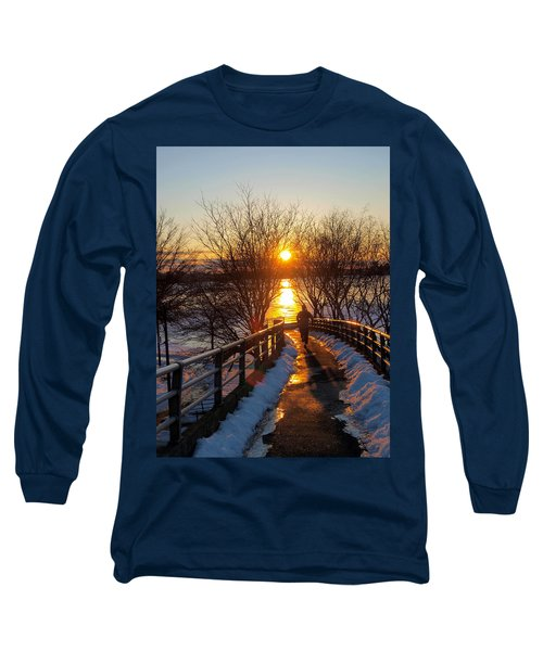 Running In Sunset Long Sleeve T-Shirt by Paul Ge