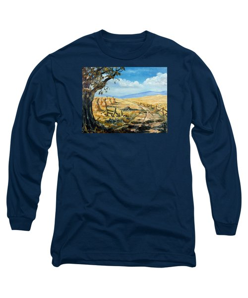 Rural Farmland Americana Folk Art Autumn Harvest Ranch Long Sleeve T-Shirt by Lee Piper