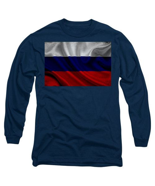 Russian Flag Waving On Canvas Long Sleeve T-Shirt