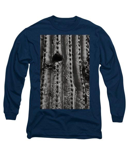 Saguaro Cactus Black And White 1 Long Sleeve T-Shirt
