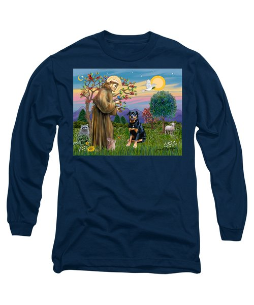 Saint Francis Blesses A Rottweiler Long Sleeve T-Shirt