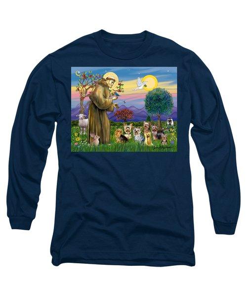 Saint Francis Blesses Seven Yorkies Long Sleeve T-Shirt