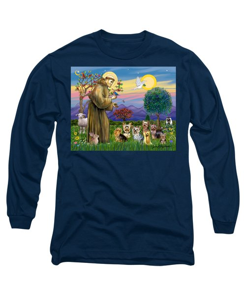 Saint Francis Blesses Seven Yorkies Long Sleeve T-Shirt