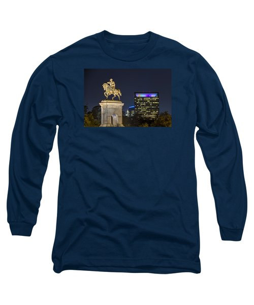 Long Sleeve T-Shirt featuring the photograph Sam Houston At Night by Tim Stanley