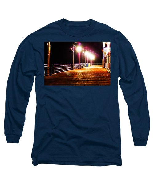 Santa Monica Pier At Night Long Sleeve T-Shirt