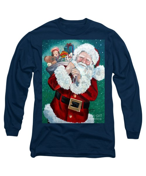 Long Sleeve T-Shirt featuring the painting Santa's Coming To Town by Julie Brugh Riffey