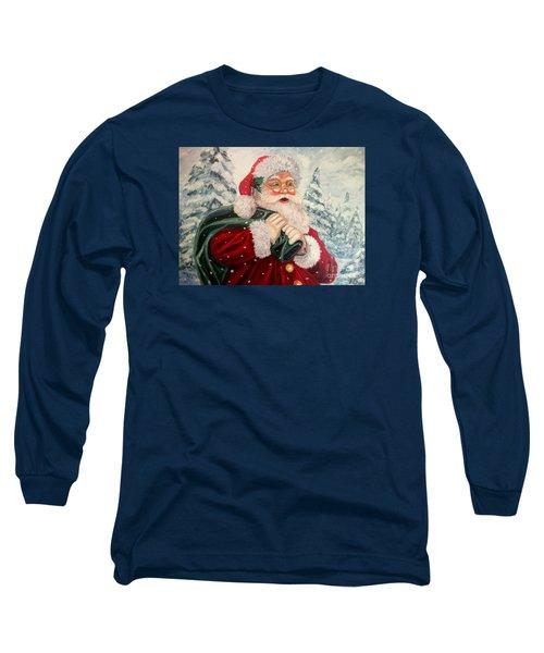 Santa's On His Way Long Sleeve T-Shirt by Julie Brugh Riffey