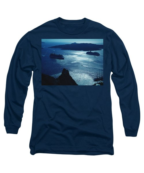 Long Sleeve T-Shirt featuring the photograph Santorini  Silent Night View Greece by Colette V Hera  Guggenheim