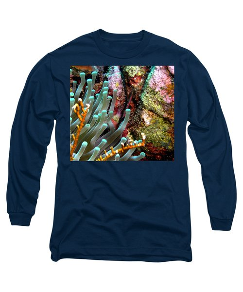 Sea Anemone And Coral Rainbow Wall Long Sleeve T-Shirt by Amy McDaniel