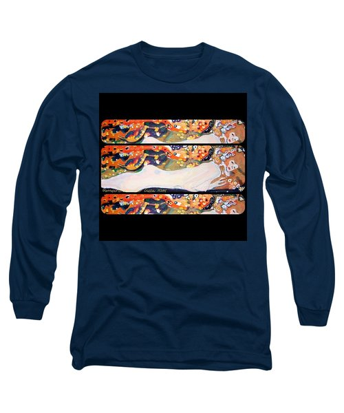 Sea Serpent IIi Tryptic After Gustav Klimt Long Sleeve T-Shirt by Anna Porter