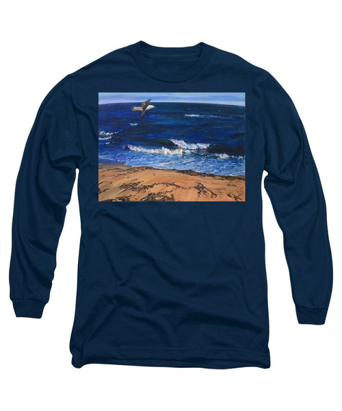 Seagull Flying Along The Surf Long Sleeve T-Shirt