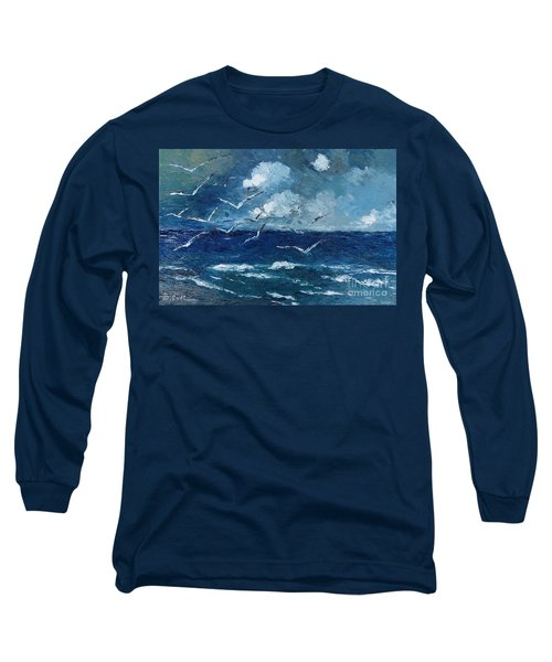 Seagulls Over Adriatic Sea Long Sleeve T-Shirt by AmaS Art