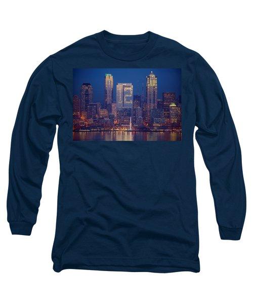Seahawks 12th Man Seattle Skyline At Dusk Long Sleeve T-Shirt by Mike Reid