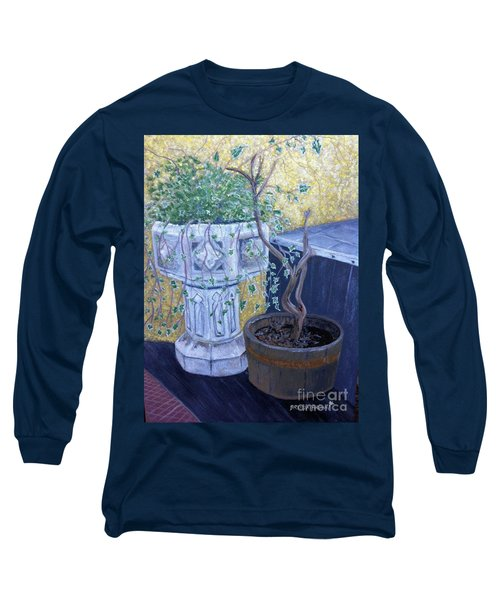 Long Sleeve T-Shirt featuring the painting Sean's Planter by Brenda Brown