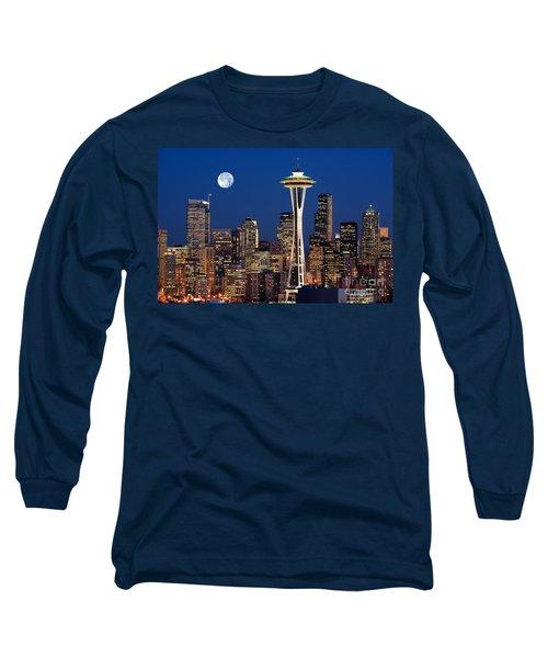 Seattle At Full Moon Long Sleeve T-Shirt
