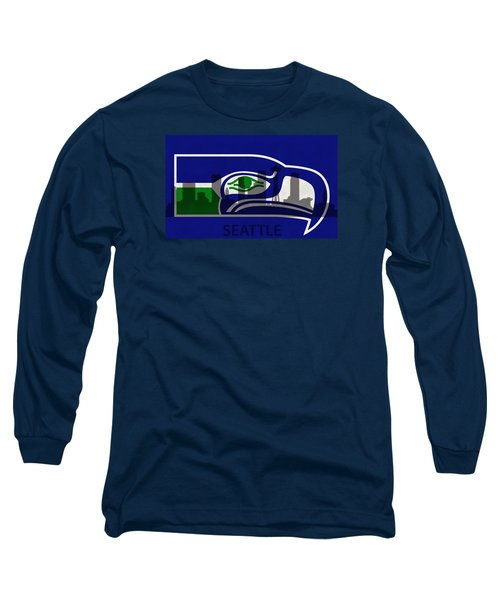 Seattle Seahawks On Seattle Skyline Long Sleeve T-Shirt by Dan Sproul