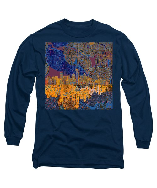 Seattle Skyline Abstract 4 Long Sleeve T-Shirt