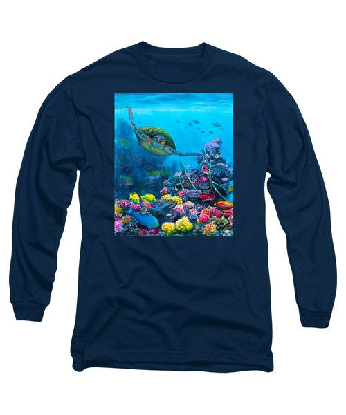Secret Sanctuary - Hawaiian Green Sea Turtle And Reef Long Sleeve T-Shirt by Karen Whitworth