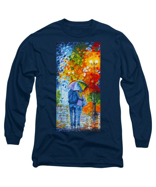 Long Sleeve T-Shirt featuring the painting Sharing Love On A Rainy Evening Original Palette Knife Painting by Georgeta Blanaru
