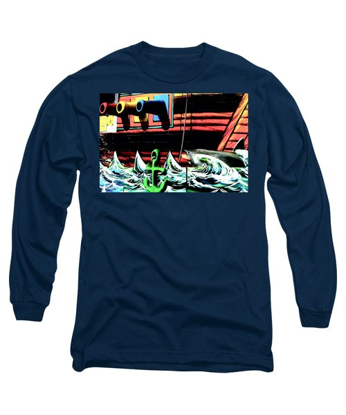 Long Sleeve T-Shirt featuring the photograph Shark And Pirate Ship Pop Art Posterized Photo by Marianne Dow