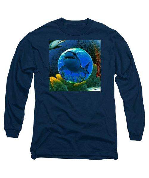 Long Sleeve T-Shirt featuring the digital art Shark World  by Robin Moline