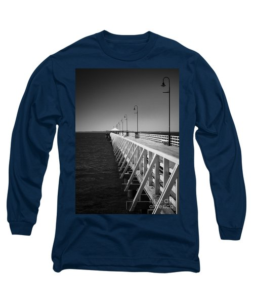 Long Sleeve T-Shirt featuring the photograph Shorncliffe Pier In Monochrome by Peta Thames