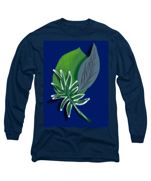 Long Sleeve T-Shirt featuring the digital art Silver Leaf And Fern I by Christine Fournier