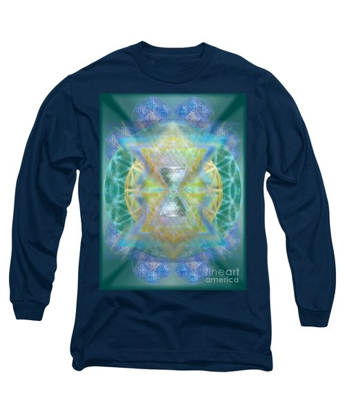 Silver Torquoise Chalicell Ring Flower Of Life Matrix Long Sleeve T-Shirt by Christopher Pringer