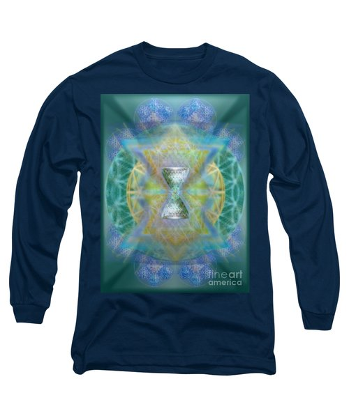 Silver Torquoise Chalicell Ring Flower Of Life Matrix II Long Sleeve T-Shirt