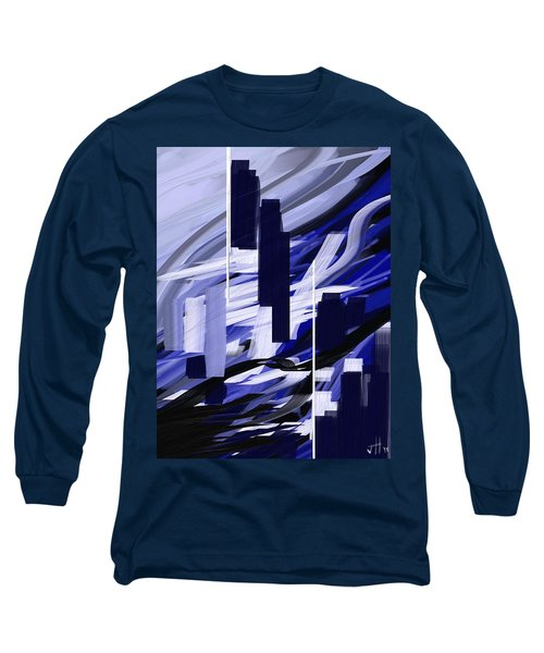 Long Sleeve T-Shirt featuring the painting Skyline Reflection On Water by Jennifer Hotai