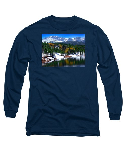 Snow Capped Pikes Peak At Crystal  Long Sleeve T-Shirt