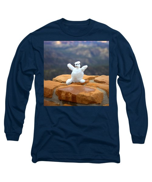 Snowman At Bryce - Square Long Sleeve T-Shirt by Gordon Elwell