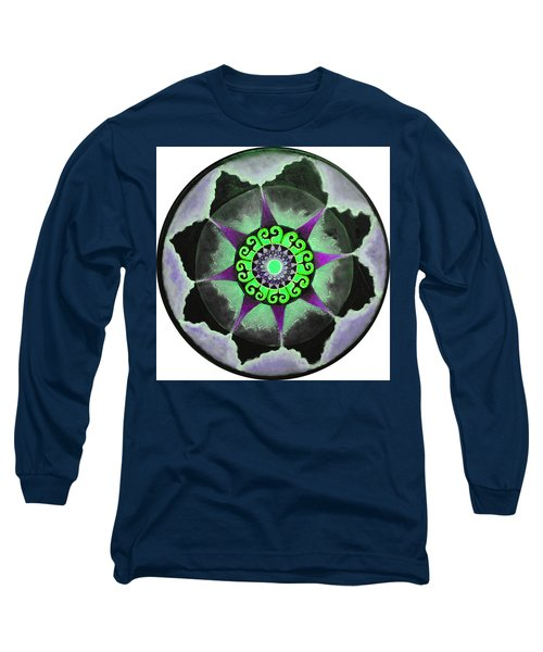Long Sleeve T-Shirt featuring the painting Solar Soul Purple Sky by Patricia Arroyo