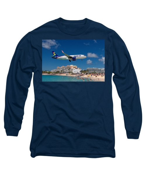 Spirit Airlines Low Approach To St. Maarten Long Sleeve T-Shirt