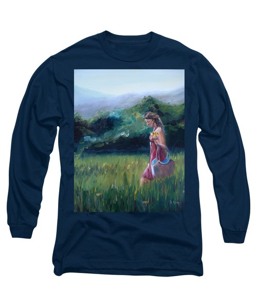 Long Sleeve T-Shirt featuring the painting Spring Stroll by Donna Tuten
