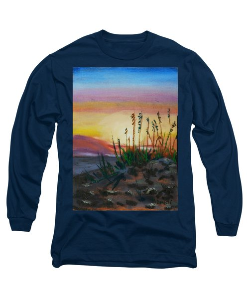 Long Sleeve T-Shirt featuring the painting  Beach At Sunrise by Michael Daniels