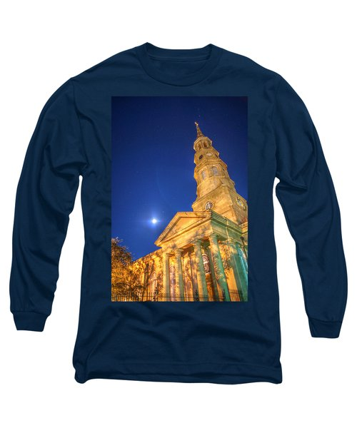 St. Phillip's At Night With Moon And Stars Long Sleeve T-Shirt