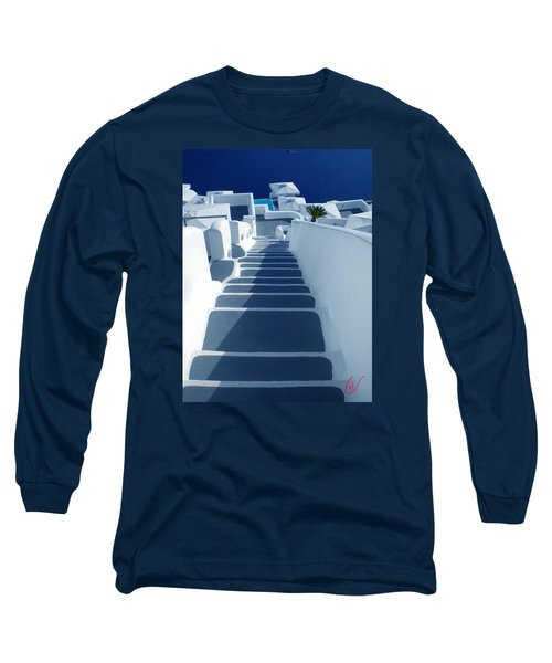 Stairs Down To Ocean Santorini Long Sleeve T-Shirt